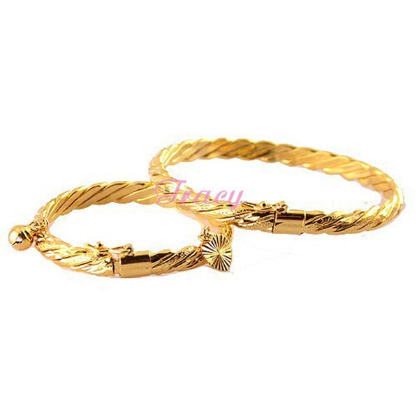 6mm Femmes Mère Bébés Enfants Or Rempli Couleur Fil Bracelets Bracelets Ouverture Bracelet Corde Bijoux