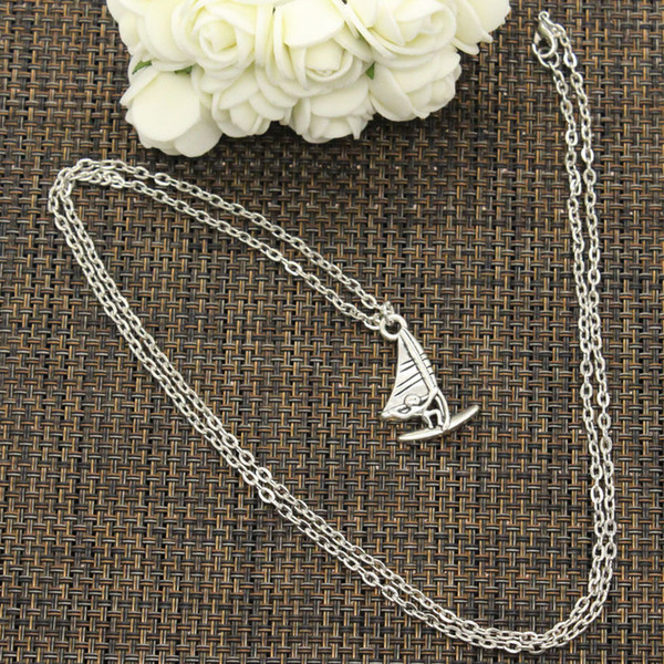 New Fashion Necklace windsurfer surfing sailing 26*16mm Silver Pendants Short Long Women Men Colar Gift Jewelry Choker