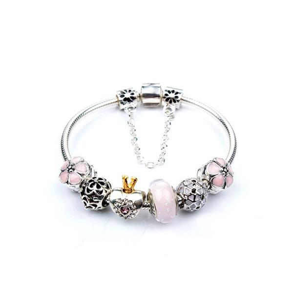 2018 Brand New Pink Princess Perlen, Anhänger-Armband-Armband Edelsteine Kristall Armband-Frauen-Schmucksachen # 273948