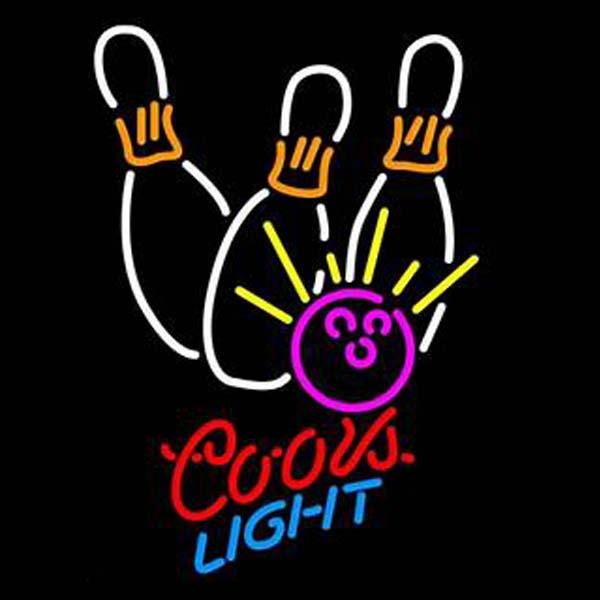 """Coors Light Bowling Neon Sign Custom Handmade Real Glass Tube Beer Bar Sport Restroom Match Club Store Advertised Display Neon Signs 12""""X19"""""""