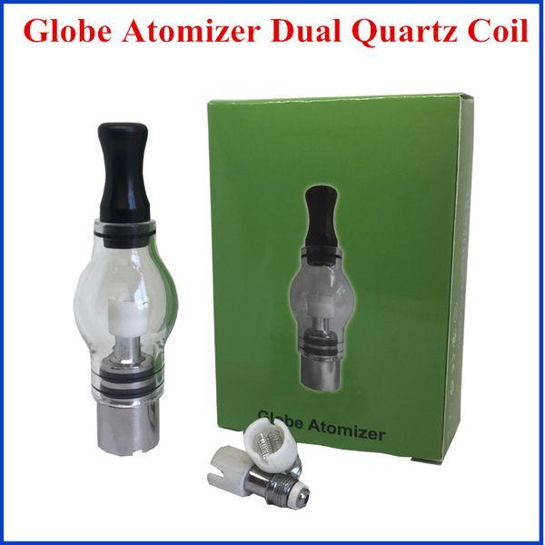 Wax atomizer Dual quartz coil Glass Tank Wax Dry Herb Vaporizer Globe Tank Atomizer Clearomizer Cartomizer for E Ciga Electronic Cigarette