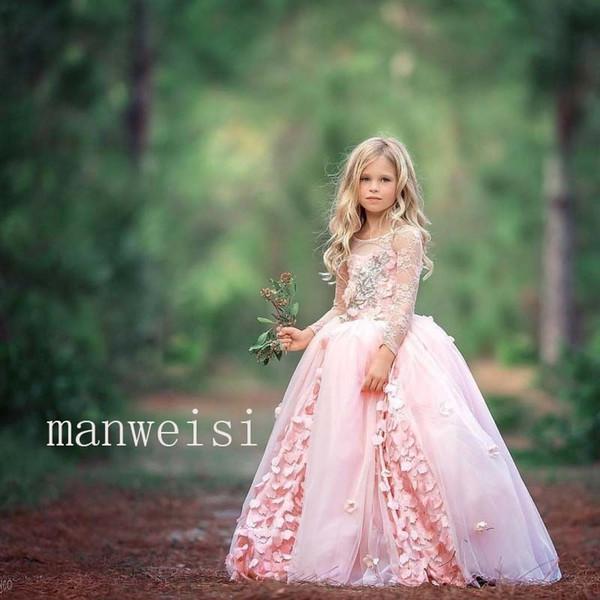 Modest Boho Lace Flower Girls Dresses Cute Applique Jewel Neck Backless Ruffled Little Toddler Ball Gowns for Bohemian Weddings Cheap