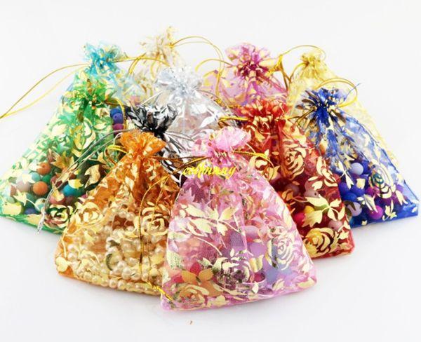 100pcs/lot 7*9cm 10*12cm 11x16 13*18cm 15*20cm 17*23cm 20x30cm Gilding Rose Organza Jewelry Bag Pouch Wedding Party Gift bags