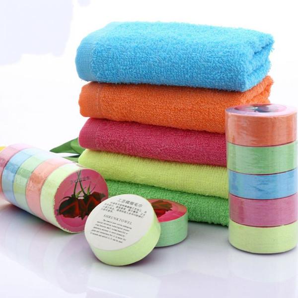 Colore casuale dell'asciugamano portatile di viaggio all'aperto di colore del cotone dell'asciugamano compresso eliminabile 1pc