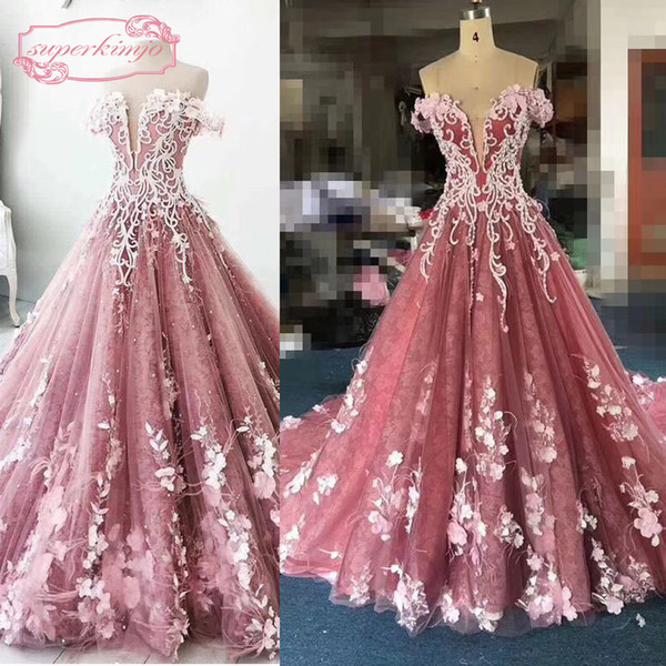 Real Pink Prom Dresses Sweetheart Neckline Off the Shoulder Feather 3D Lace Hand Made Flowers Ball Gown Puffy Long Evening Dresses Gowns