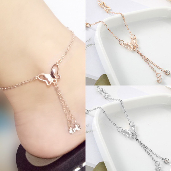 top popular Temperament butterfly single drill tassel anklet female Korean fashion accessories wholesale free shipping 2021