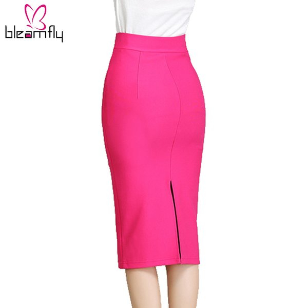 Wholesale- Women Skirt 2016 New Midi Bodycon Office Women Slim Knee Length High Waist Stretch Sexy Pencil Skirts Jupe Femme Red Black Color