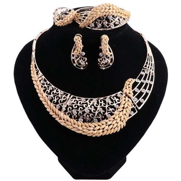 Retro Nigerian Wedding African Beads Jewelry Sets Crystal Fashion Dubai Jewelry Sets For Women Costume Design