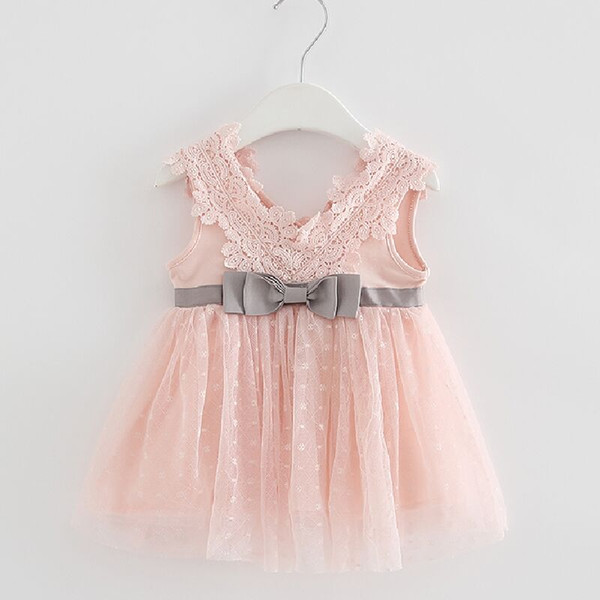 Retail-2018 summer newborn V-neck bow lace princess infant dress baby girls dress Honey Baby clothes ball gown 3 color