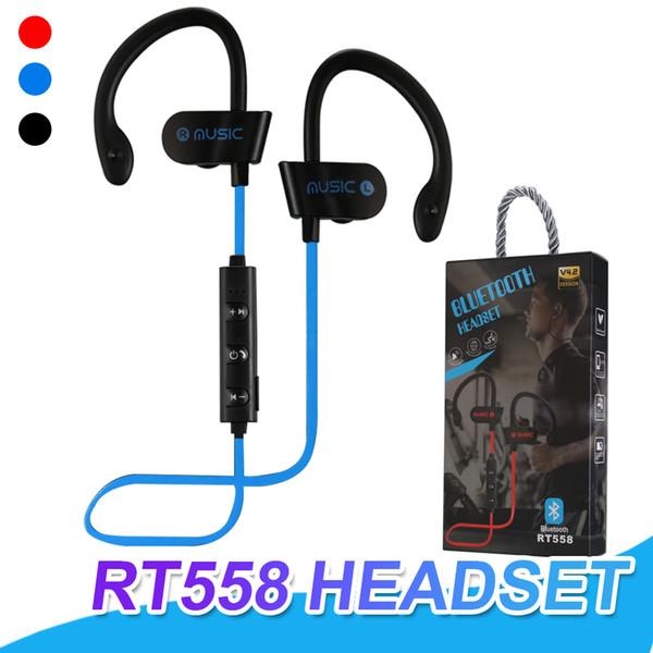 Cuffie Bluetooth RT558 Cuffie wireless a cancellazione di rumore Sweatproof Sport auricolari con microfono da jogging gancio dell'orecchio con pacchetto di vendita al dettaglio