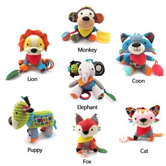 6 Styles Baby Rattles Infant Kids Music Hanging Hand Bed Stroller Soft Dolls Educational Toys Kids Rattle Stroller Toy CCA8718 30pcs