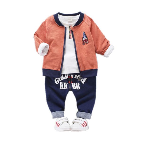 Children Girls Boys Clothing Autumn Winter Suit Zipper Coat T-shirt Pants 3Pcs/Sets Kids Clothes Baby Cotton Tracksuits