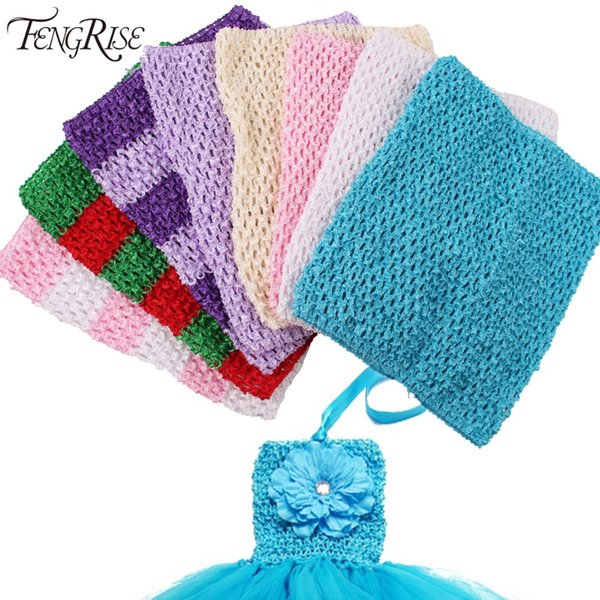FENGRISE 20X23 cm Tul carrete Tutu Crochet Pecho Wrap Tube Tops Ropa de punto de costura de tela Chica Regalos de cumpleaños Faldas