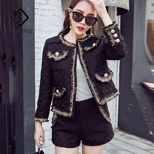 Neue Ankunft Frauen Solide 2 Stück Set Casual Oansatz Tweed Jacken Blazer Hohe Taille Shorts Elegante Büro Dame Suit Hot S88105F