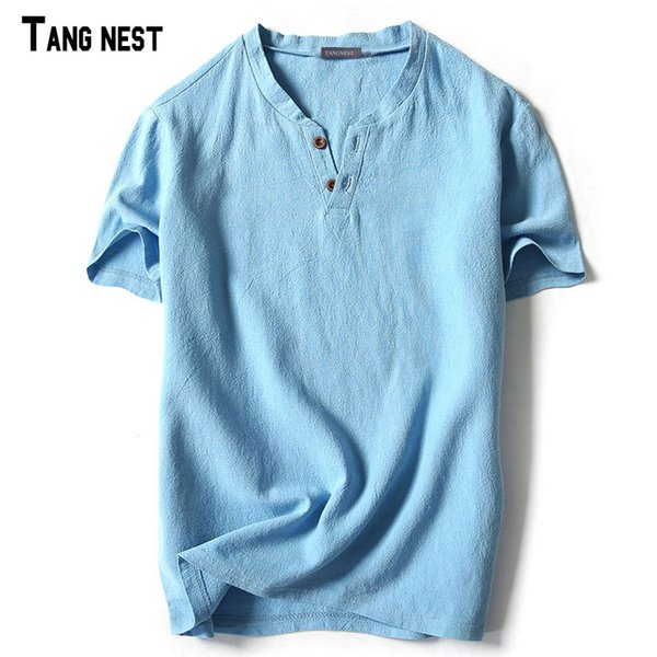 TANGNEST Men Short T shirts 2018 New Summer Style V-neck Linen T shirts Slim Fit Breathable Short-sleeved Tees M-5XL MCS661