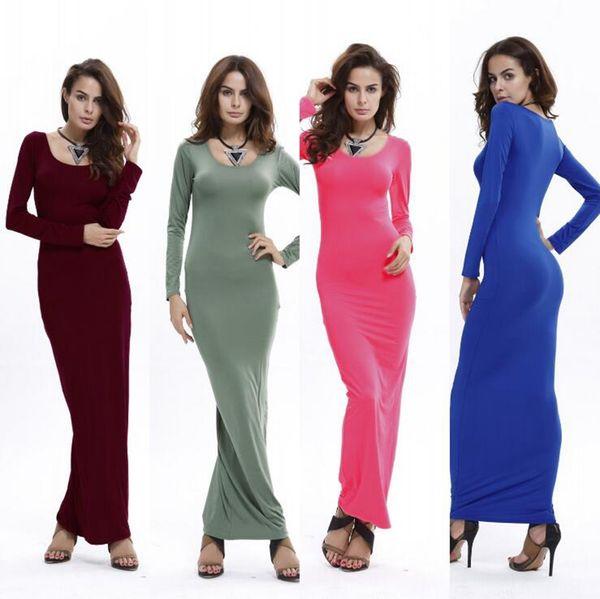 Women Spendex Long Sleeve Solid Color Maxi Dress Elegant Slim Round Neck Bodycon Maxi Dress OOA4556
