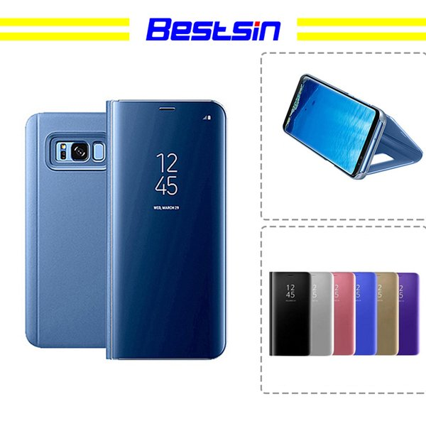 Bestsin Phone Case Electroplate Clear Smart Kickstand Mirror View Flip Cover Sleep wake For iphone 7 8 X samsung S7 S8 s9 plus