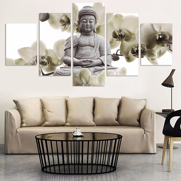 Large Poster HD Printed Painting 5 Panel Buddha Landscape Canvas Print Art Home Decoration Wall Artwork Pictures For Living Room