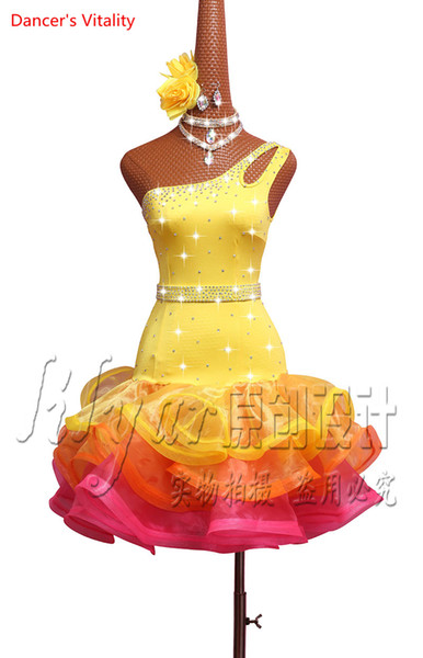 Latin Dance Competition Dress Performance Suits Yellow One-shouldered Fishbone Clothes Designed for Women Tango Cha Cha Rumba Samba Dancing