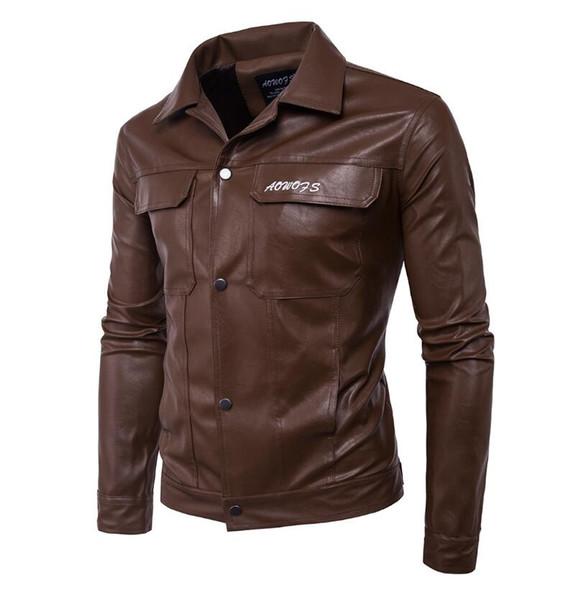 Manteau en cuir de moto de nouveaux hommes de mode revers lettre veste en cuir brodé 2 couleurs en option vente chaude