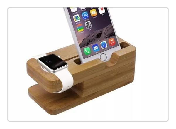 DHL más reciente plataforma de carga para Apple Watch Stand Station para Apple Watch para iPhone Soporte de teléfono celular de madera de bambú