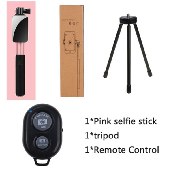 Smartphones selfie stick universal Phone Android Bluetooth selfie stick tripod mirror monopod for Iphone with remote shutter(3 Color)