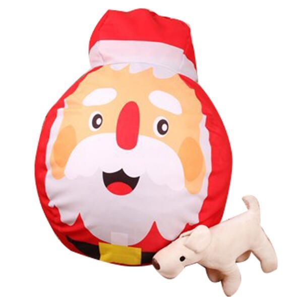 4 Styles Kids Stuffed Santa Claus Plush Toy Storage Bean Bag Christmas Canvas Pouch Stripe Chair Red Clothing Storage Bag CCA10361 6pcs