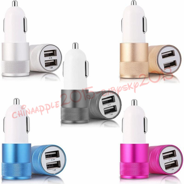 car charger 5 Colors 1A 2.1A 5V 2 USB Port Metal Car Charger Vehicle Chargers For iphone Samsung Smartphones mp3 gps