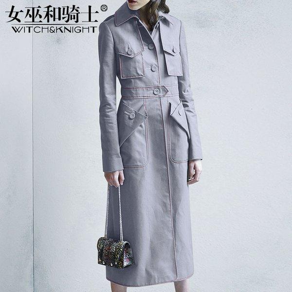 Sonbahar 2018 Yeni kadın Giyim, Uzun kollu Kruvaze Uzun Tarzı Rüzgarlık, Kadınlar Diz Üzerinde Bel Ceket