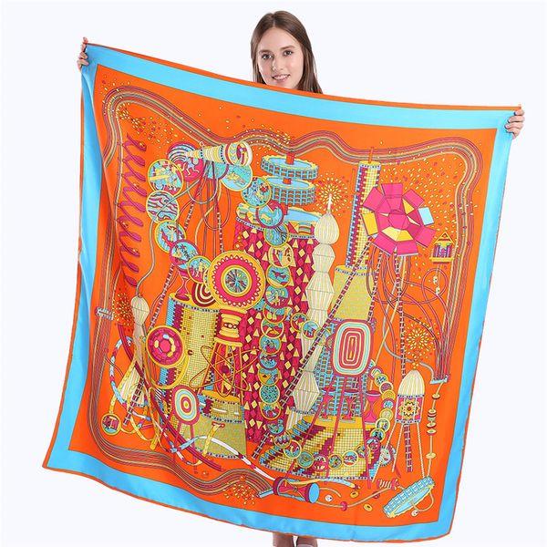 New Twill Silk Scarf Women Dream Works Stampa Square Sciarpe Fashion Wrap Foulard femminile Grande Hijab Scialle fazzoletto da collo 130 * 130CM