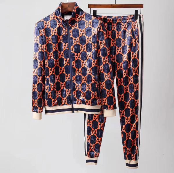 samma01 / Italienische Internationale Mailänder Modemarke GJ Samt Trainingsanzüge Herren Sportwear Anzug Sweatshirt Casual Active Zipper Outwear Jacket + Pan