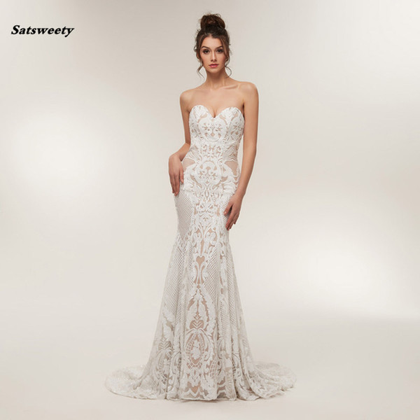 Saudi Arabai Lace Mermaid Formal Party Dresses sweetheart Sexy Long prom Gowns side stunning sequins Vestido de Novia