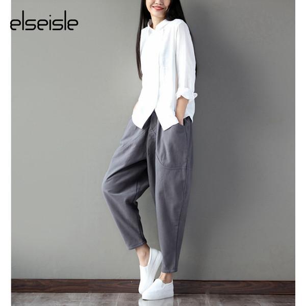 Sinon, pantalon large, capri, gris, sarouel, pantalon, pour, femme, coréen