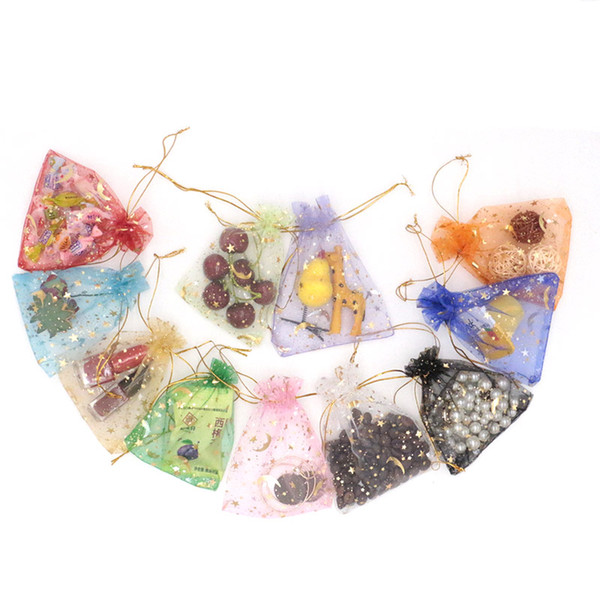 300PCs 9*12CM Star Moon Organza Bag Fashion Jewelry Bags And Packaging Wedding Drawstring Gift Bags Pouches Bag For Gift