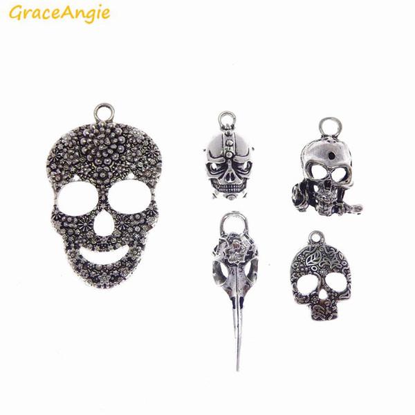 GraceAngie 18pcs Wholesale Antique Silver Skull Mask Stylish Punk Style Pendant Hot Sale Zinc Alloy Charm Jewelry DIY Finding