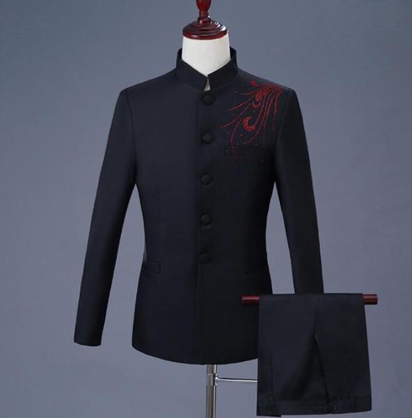 Stand collar black slim Chinese tunic suit men suit set with pants mens wedding suits formal dress men's Diamond + pant