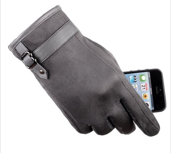 GLV994New cuir homme écran tactile gants avec épais molleton chaud hiver vélo conduite gants de sport en plein air