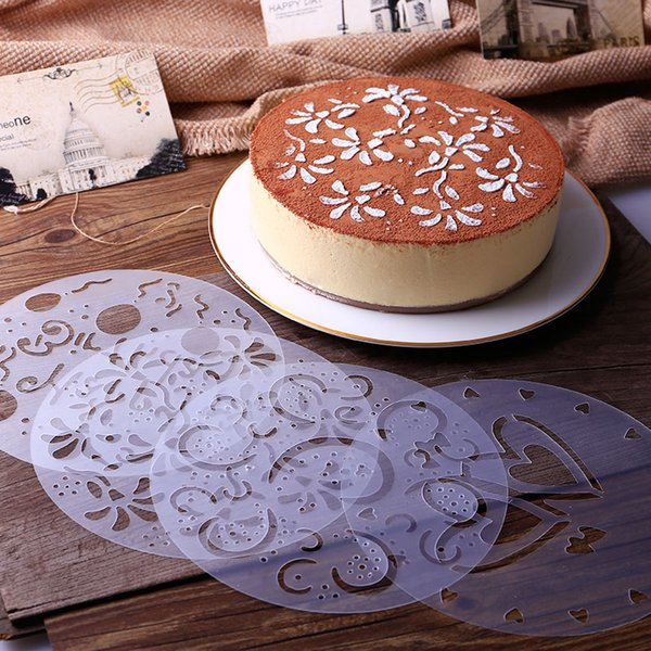 4 Pieces/lot Cake Stencils Latte Art Birthday Printing Mold Decorating Wedding Cooking Party Kitchen Pastry Tools Accessories