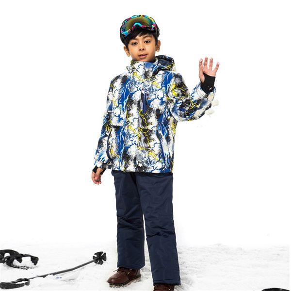 Skianzug Kinder wasserdicht atmungsaktiv Jungen Skijacken Hosenanzug Outdoor Schneesportkleidung mit winddichtem Kleid
