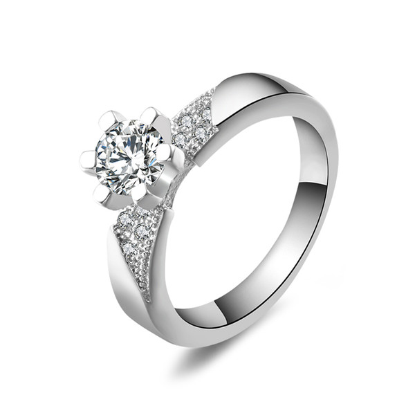 Romantic CZ Silver Jewelry Women Rings With 925 Stamp Elegant Wedding Engagement Bague For Lady