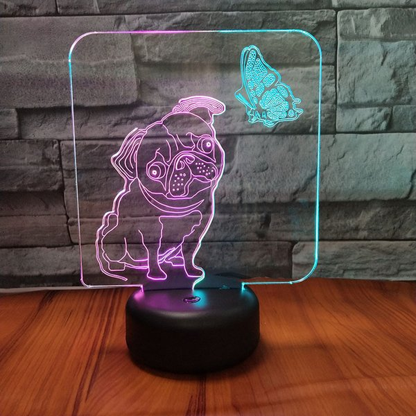 Dog Butterfly Dual Color 3D Lamp 3D Optial LED Lamp Night Lamp USB Powered 7 RGB Light DC 5V Wholesale Free Shipping
