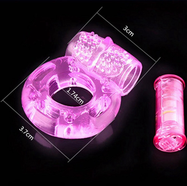 top popular 100pcs Butterfly Vibrating Cock Ring Sex Products Penis Rings Sex Toys Delay CockRing Pink For Men With plastic bag package 2021