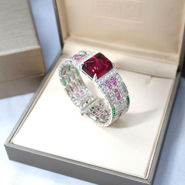 Beautiful Gem Bangle Bracelet Brand Luxury Wedding Jewelry For Women 2018 New Fashion Wedding Bracelets Bangles