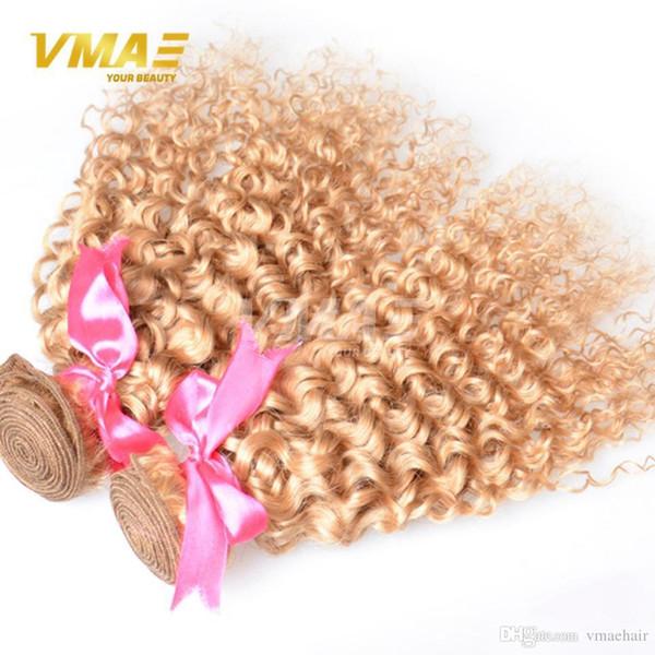 VMAE Brasileño Rubio Extensiones de cabello rizado Miel Rubia Tejido de pelo humano 3 UNIDS Color 27 Rizado Rizado Rubio Rubio Virgen
