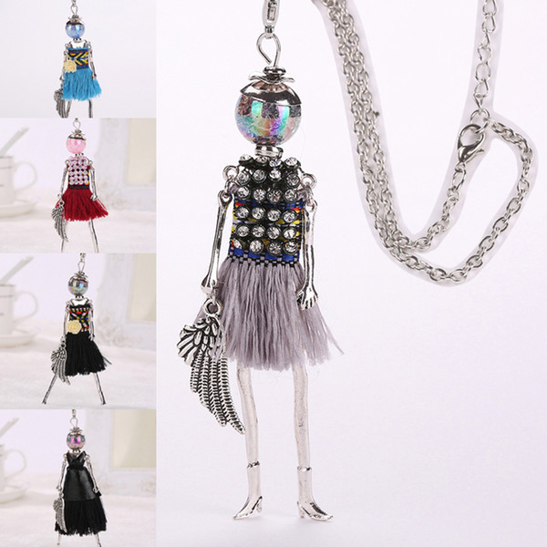 New black tassel doll women long pendant multicolor maxi necklace female cute hot girl rhinestone fashion jewelry collier femme