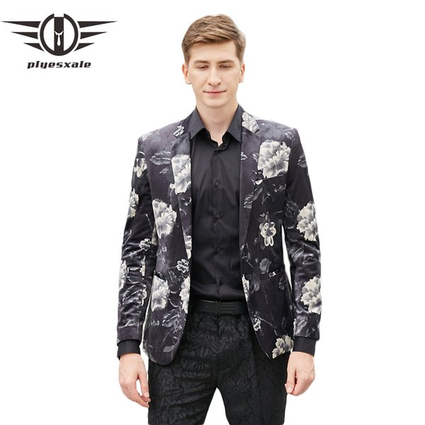 Plyesxale Floral Blazer Men 2018 Slim Fit Mens Velvet Blazers Luxury Flower Printed Blazer For Men Party Prom Stage Wear Q432