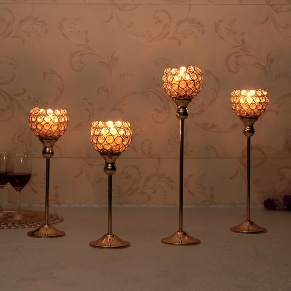 Crystal Metal Candle Tealight Holders Stand Candlesticks Candelabrum for Wedding Party Coffee Table Centerpieces Candelabra Home Decoration