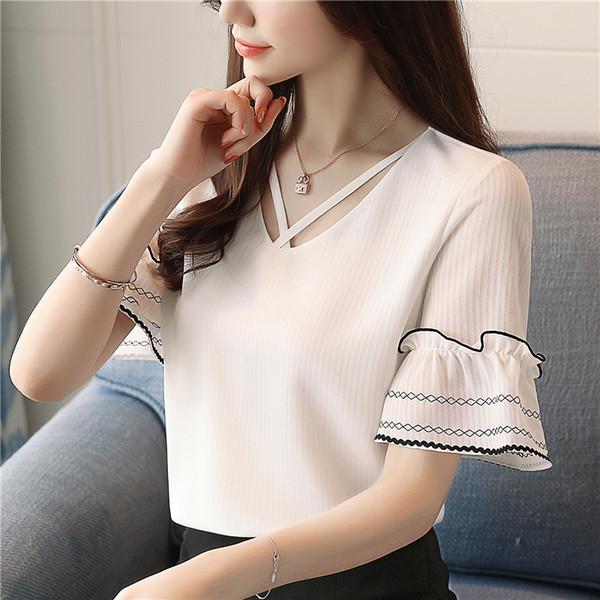Chemise en mousseline de soie coréenne New Summer Chemises de couleur pure Pull à col en V à manches courtes Blouse à manches courtes Tops et Blouses de femmes