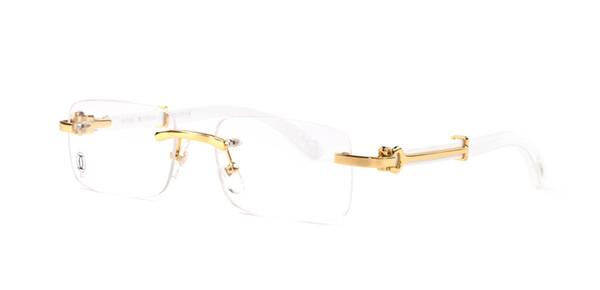 Çerçevesiz Güneş Gözlüğü Çerçeveleri altın metal Asetat bacaklar Kadın Erkek Vintage Marka Tasarımcısı de sol güneş gözlükleri gözlük