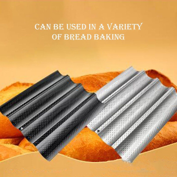 Non Stick Wave Baguette Mold 4 Gutter Perforated Baguette Pan French Bread Loaf Bake Mold Oven Tray Baking tools FFA443